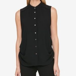 DKNY Ruched Black Blouse
